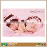 Gorgeous Baby Girl Hat Diaper Cover Pink and Chocolate Striped Stocking Cap with Tassel