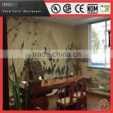 High quality traditional designed embossed hand paint silk wallpaper made interior decoration