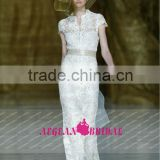 R13613 2013 Barcelona summer high collar short sleeves lace antique wedding dress