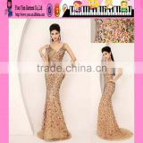 Wholesale Deep-V neckline Good Quality Fashion Dress Made In China Bead Design Good Quality Fashion Dress