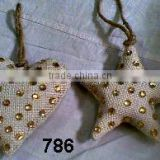Jute & Glass Beads Christmas Tree Ornaments Decoration Heart & Star