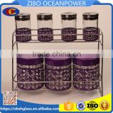 glass spice jar glass storage bottle set with metal shelf