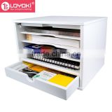 4-Shelf Desktop Organizer MDF wood office desk Document Collection with drawer