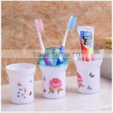 3 pc plastic Toothbrush holder with cover