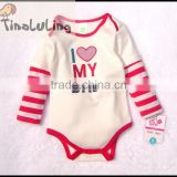 wholesale girls red I love my Mom long sleeve baby bodysuit, baby winter romper