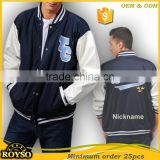 Customize Custom Made Youth Size Men College Baseball College Varsity High School Uniforms Bomber Jacket with Leather Sleeves