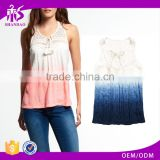 2017 Guangzhou Shandao New Summer Arrival Women Sleeveless Round Neck Lace Collar Crinkle Cotton Designer Casual Tops