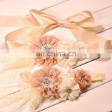 Champagne Flower Sash & Headband Sets With Lace Bows Christening Headband For Baby Maternity Sash Belt