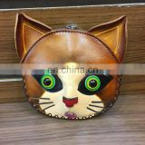 cat shape real leather cute mini bag purse coin custom coin purse