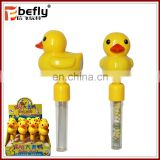 Cute duck shape shaking noise maker toy with candy