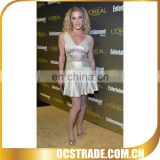 2014 A line gold v neck short puffy cocktail dresses bandage material