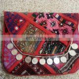 Indian Vintage Style Hand Stitched Banjara Envelop Clutch#coins#gypsy#bohemian#textiles#pompoms