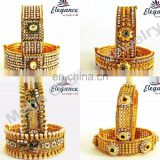 One gram gold plated bangle set - South india gold plated kada set - Wedding wear bangles - Wholesale traditional bangle