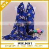 New Style Spring Print Knitted Silk Voile Scarf Women Fashion Scarf