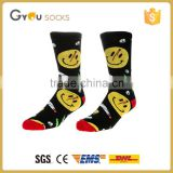 Men's cotton tube socks in high quality/new design cotton Cute tube socks with Smail Face