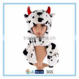 Plush animal hat scarf glove 3 in 1 cow design
