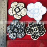 SILVER WHITE & BLACK BEADED APPLIQUE CRAFT IRON PATCH MEDALLION BEADWORK