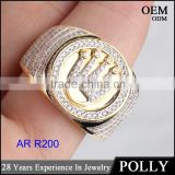 China wholesale 925 silver jewelry iced out hip hop ring mens