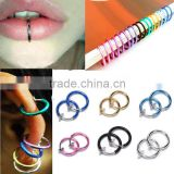 Colorful Fake Nose Ring Goth Punk Lip Ear Nose Clip On Fake Piercing Nose Lip Hoop Rings Earrings Body Jewelry