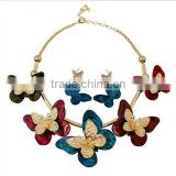 New Brand fashion brand full Butterfly charm pendant accessories necklaces earrings jewelry set big promotion items sets 2015