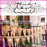 Customized size jute rope flax triangular Birthday Party Wedding Home Decoration Burlap pennants