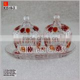 New Products In Market Glass cup/ hot sales design Hand press pearl pattern color glass jar