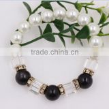 fashion women Jewelry Beaded Black Pearl Crystal Bracelet