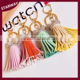 SW17068 promotion rhinestone leather tassel key chain/
