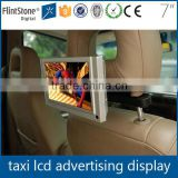 "Flintstone 7"" taxi headrest small video advertising, taxi display, 7 inch taxi lcd monitor"