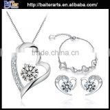 Wholesale women's crystal 925 silver jewelry set,925 sterling silver jewelry set 2015