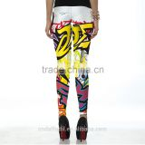 New Women Pants Fashion Colorful Comic Doodles Printed Sport Black Milk Pencil leggings