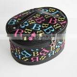 Oval shape Letter printed nylon Cosmetic box with different sizes professional