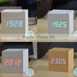 Best selling promotion cube colorful LED Wood alarm clock for home decoration comply with CE ROHS - S714