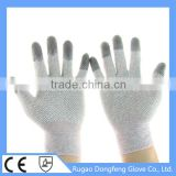Factory Directly Sale Antistatic PVC Dotted PU Fingertips Coated Cleanroom ESD Safety Work Gloves For Men's