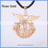 Rose Gold Plated Angel Wings Copper Hollow Chime Box Harmony Pregnancy Jewelry Necklace Belly Pendant BAC-M022