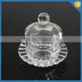 LXHY-B002 small round crystal glass butter dish with lid