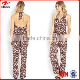 women playsuits wholesale retro pattern printing jumpsuits/playsuits women sexy jumpsuits