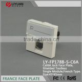 LY-FP178B-S-C6A french cat6A toolless keystone jack faceplate RJ45 wall outlet 45*45mm keystone jack plate