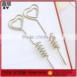 Shenzhen factory price color long rod metal stick silver wire heart shape paper clips with spring