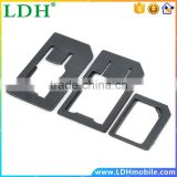High Quality 3 in 1 Nano Sim Card Adapters+Micro Sim +Stander Sim Card SIM Card & Tools For iPhone 4 4S 5 Black