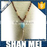 wood beads knotted necklace with a big stone pendant tassel necklace women jewelry