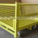 RH-C02-wheel steel crate 1100*1100*740mm yellow movable foldable stoarge cage steel container wire cages with wheels