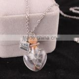 Handmade Unbreakable Heart wish drift bottle charms necklace dandelion seed bottle collar necklace