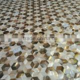 Foshan mosaic tiles hexagon star shell mosaic mother of pearl pattern natural beige white backsplash