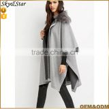 Women Soft OEM Woven Poncho Cape jacket With Rabbit collar
