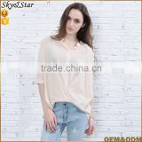 New design high quality stand collar middle sleeve thin fabric women blouse 2017