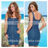 denim jeans dress for women casual dress jeans ,blue suspender skirt jeans dress