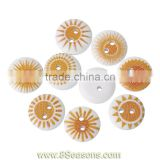 Wood Painting Sewing Buttons Scrapbooking Round 2 Holes Pale Yellow Mixed Sun Pattern Print 15mm Dia,100PCs,Bulk