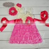 5sets/lot Cream&Fuchsia Lace Dresses Matching Headband and sash belt