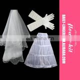 Bridal Wedding Accessories 3PCS Bridal Veils Gloves Peticoat Wholesale